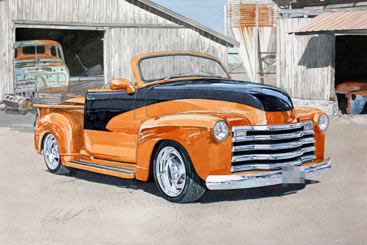 Chevrolet on Automotiveartists Com   1950 Chevrolet Pick Up Watercolor Painting