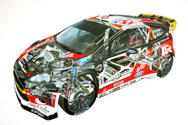 Cutaway of Ford Fiesta WRC