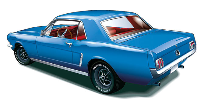 Classic Mustang Illustration – Ron de Haer – AutomotiveArtists.com